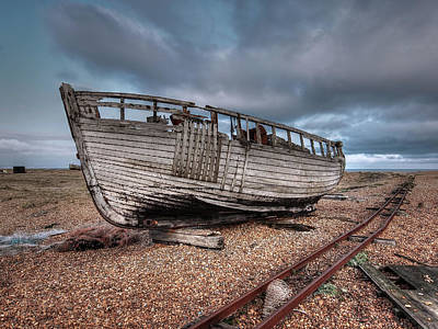 Photograph - Abandoned Old Fishing Boat At Dungeness by Gill Billington