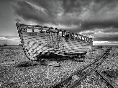Photograph - Abandoned Old Fishing Boat At Dungeness In Black And White by Gill Billington