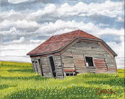 Wheat Painting - Abandoned On The Prairie by David Wolfer
