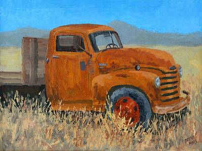 Painting - Abandoned Orange Chevy by David King