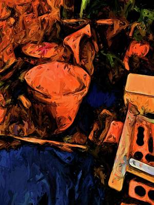 Digital Art - Abandoned Orange Pots With Some Blue by Jackie VanO