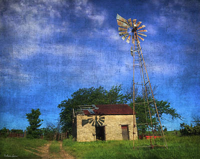 Abandoned Outbuilding And Windmill Art Print by Anna Louise