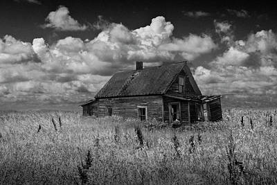 Olympic Sports - Abandoned Prairie Farm House in Black and White by Randall Nyhof
