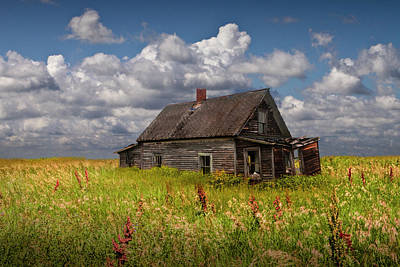 Abandoned Prairie Farm House Under Cloudy Blue Skies Art Print by Randall Nyhof