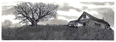 Old Home Place Drawing - Abandoned Prairie Farmhouse by Jonathan Baldock