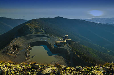 Photograph - Abandoned Quarry With Lake Sea And Genoa Panorama by Enrico Pelos