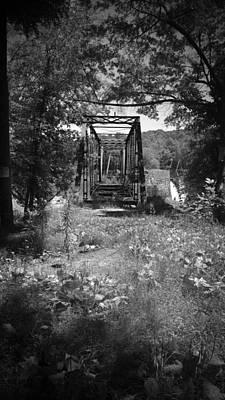Photograph - Abandoned Rail Road Trestle Bridge In Black And White by Kelly Hazel