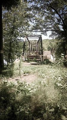 Photograph - Abandoned Railroad Trestle Bridge In Vintage Oil Colorization by Kelly Hazel