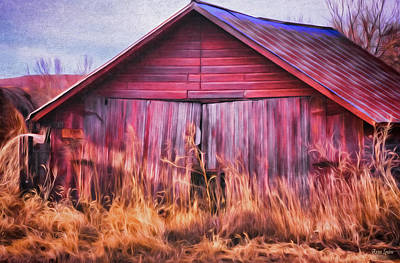 Rural Decay Digital Art - Abandoned Red Barn by Anna Louise