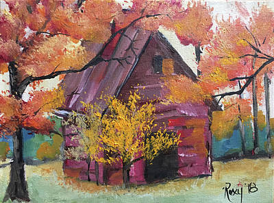 Landscapes Painting - Abandoned Red Barn by Roxy Rich
