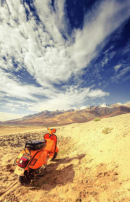 Photograph - Abandoned Scooter In Himalayas by Alexey Stiop