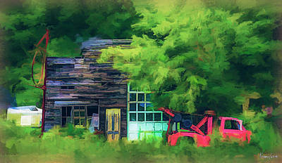 Digital Art - Abandoned Service Garage And Tow Truck by Ken Morris