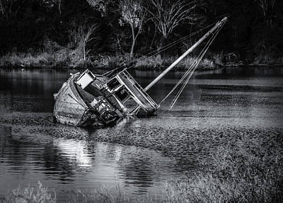 Photograph - Abandoned Ship In Monochrome by Donald Brown