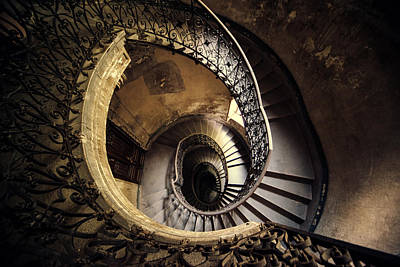 Photograph - Abandoned Spiral Staircase by Jaroslaw Blaminsky