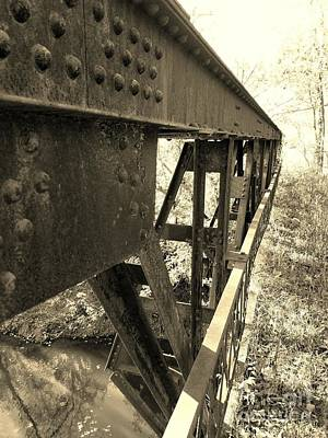 Indiana Rivers Digital Art - Abandoned Steel Bridge Nashville Indiana -sepia by Scott D Van Osdol