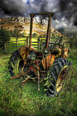 Grass Rocks Photograph - Abandoned Tractor by Meirion Matthias