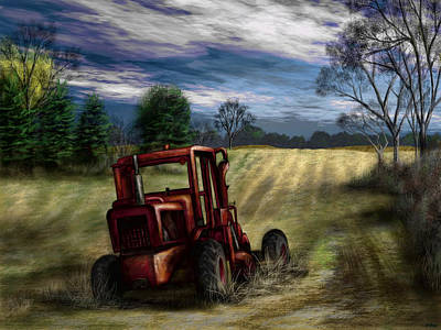 Painting - Abandoned Tractor by Ron Grafe
