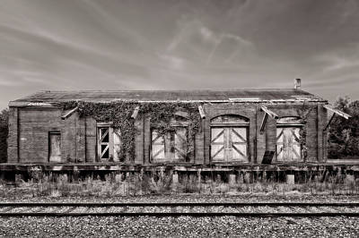 Photograph - Abandoned Train Freight Station  -  12traindepotbwcoffee2345 by Frank J Benz