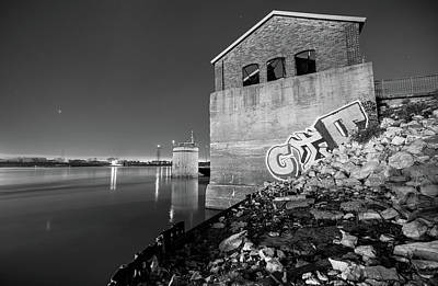 Photograph - Abandoned Train Station On The Mississippi River - Saint Louis Missouri - Black And White by Gregory Ballos