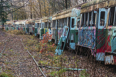 Photograph - Abandoned Trolley Graveyard by Jim Cheney