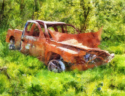 Digital Art - Abandoned Truck by Francesa Miller