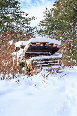 Photograph - Abandoned Truck In The Snow by Edward Fielding