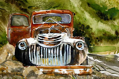 40s Painting - Abandoned Truck by Shirley Sykes Bracken