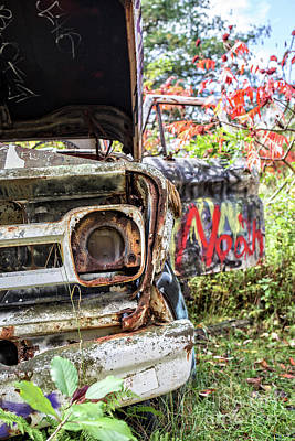 Vandalize Photograph - Abandoned Truck With Spray Paint by Edward Fielding