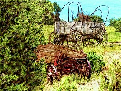 Digital Art - Abandoned Wagons by Ric Darrell