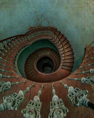 Photograph - Abandoned Wooden Spiral Staircase by Jaroslaw Blaminsky