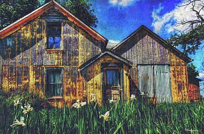 Digital Art - Abandoned Yellow Farm House by Anna Louise