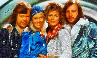 Hall Of Fame Digital Art - Abba At Eurovision 1974 - Da by Leonardo Digenio