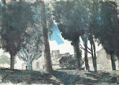Painting - Abbaye Silvacane Behind Trees by Martin Stankewitz