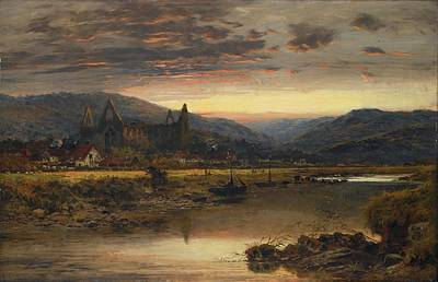 Benjamin Williams Leader Painting - Abbey From The River by Williams Leader