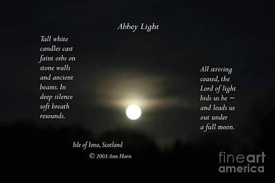 Photograph - Abbey Light by Ann Horn