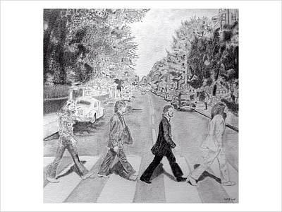 Fab Four Drawing - Abbey Road by Daniel Kraus