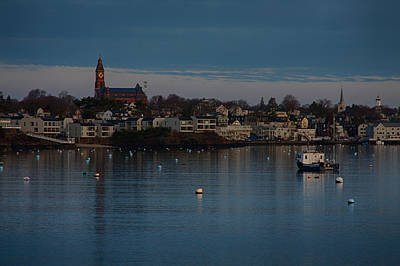 Photograph - Abbot Hall Reflection On Marblehead Harbor At Christmas by Jeff Folger