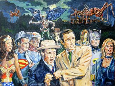 Painting - Abbott And Costello Meet The Justice Society Of America by Bryan Bustard