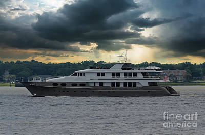 Photograph - Abbracci Yacht Leaving Charleston by Dale Powell
