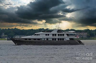 Photograph - Abbracci Yacht Leaving Charleston by Dale Powell