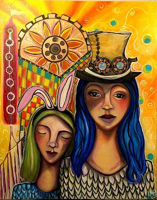 Alleyvision Painting - Abby And Emma  by Heather Alley