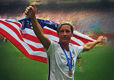 Champion Digital Art - Abby Wambach Us Soccer by Semih Yurdabak