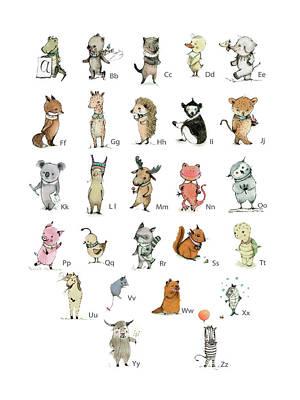 Kids Wall Art Drawing - Abc Animals by Paola Zakimi