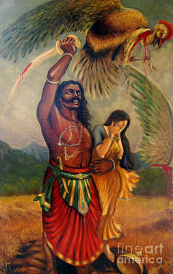 Ravana Painting - Abduction Of Sita by Anup Roy