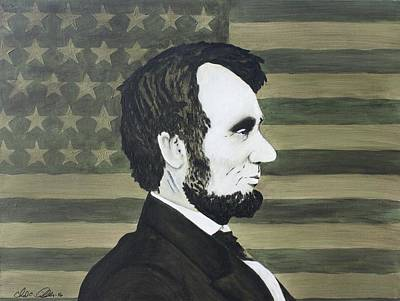 Honest Abe Painting - Abe #4 - Green Flag Abe by Chad Airhart