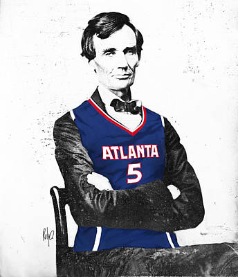 Lincoln Drawings Drawing - Abe Lincoln In A Josh Smith Atlanta Hawks Jersey by Roly Orihuela