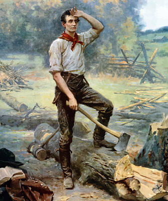 President Lincoln Painting - Abe Lincoln The Rail Splitter  by War Is Hell Store