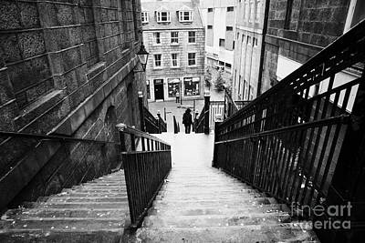 Aberdeen Union Street Back Wynd Stairs Scotland Uk Art Print by Joe Fox