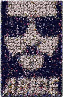 Folk Art Mixed Media - Abide Bottle Cap Mosaic by Paul Van Scott