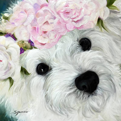 Puppies Painting - Abigail's Flowers by Mary Sparrow